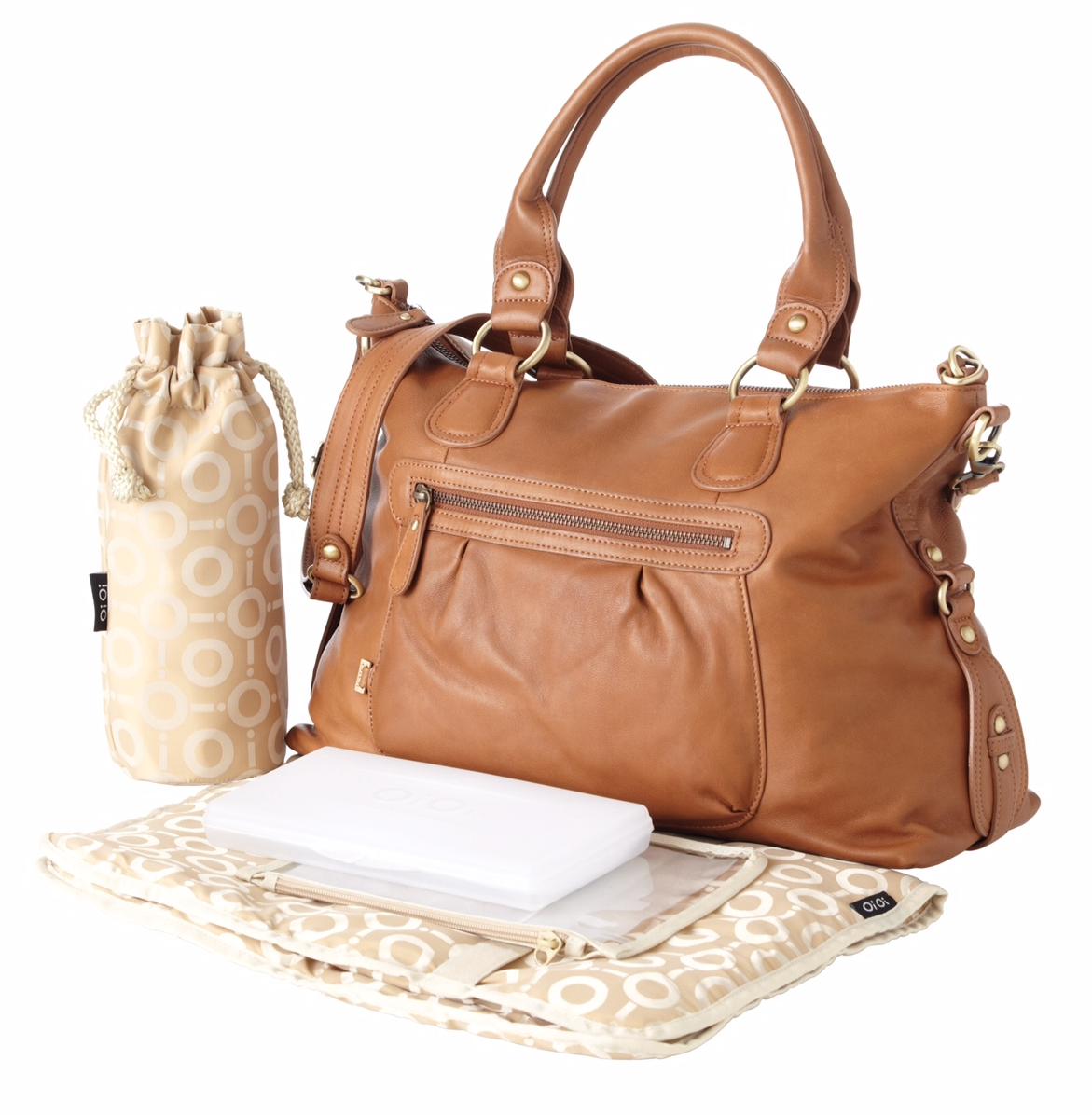 OiOi Tan Leather Slouch Tote Changing Bag