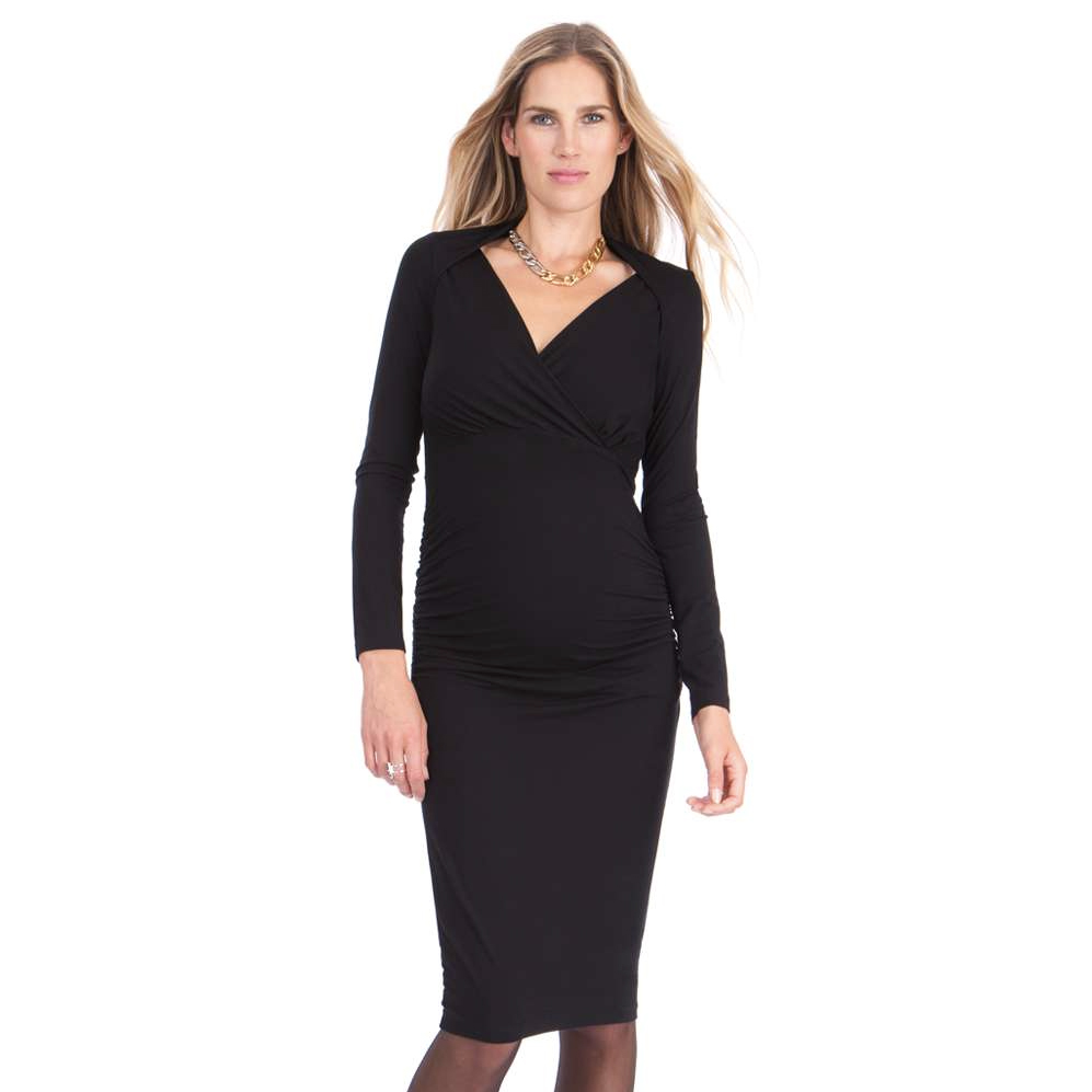 Seraphine Black Maternity Midi Dress