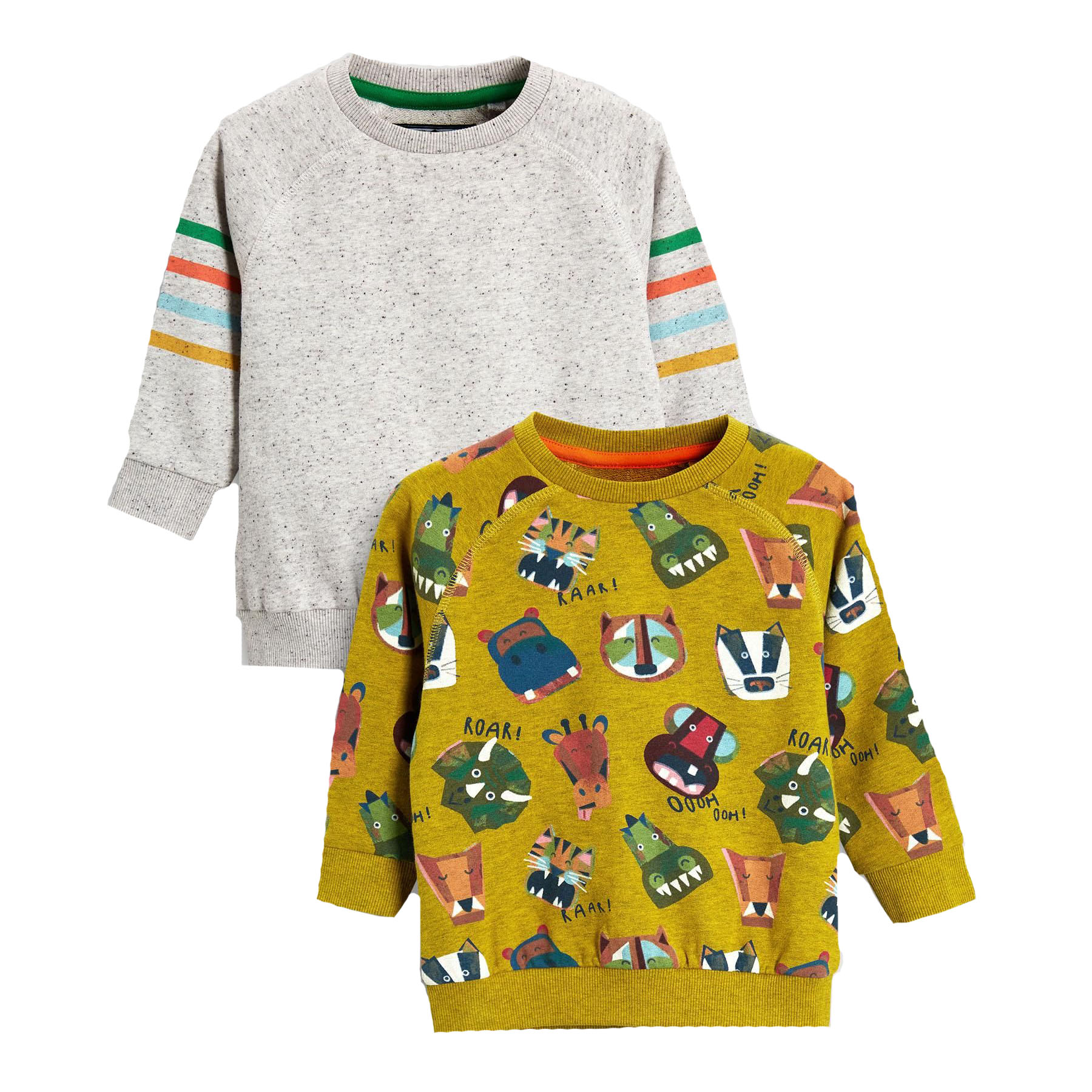 Next Yellow/Grey Animal All Over Print Crews Two Pack