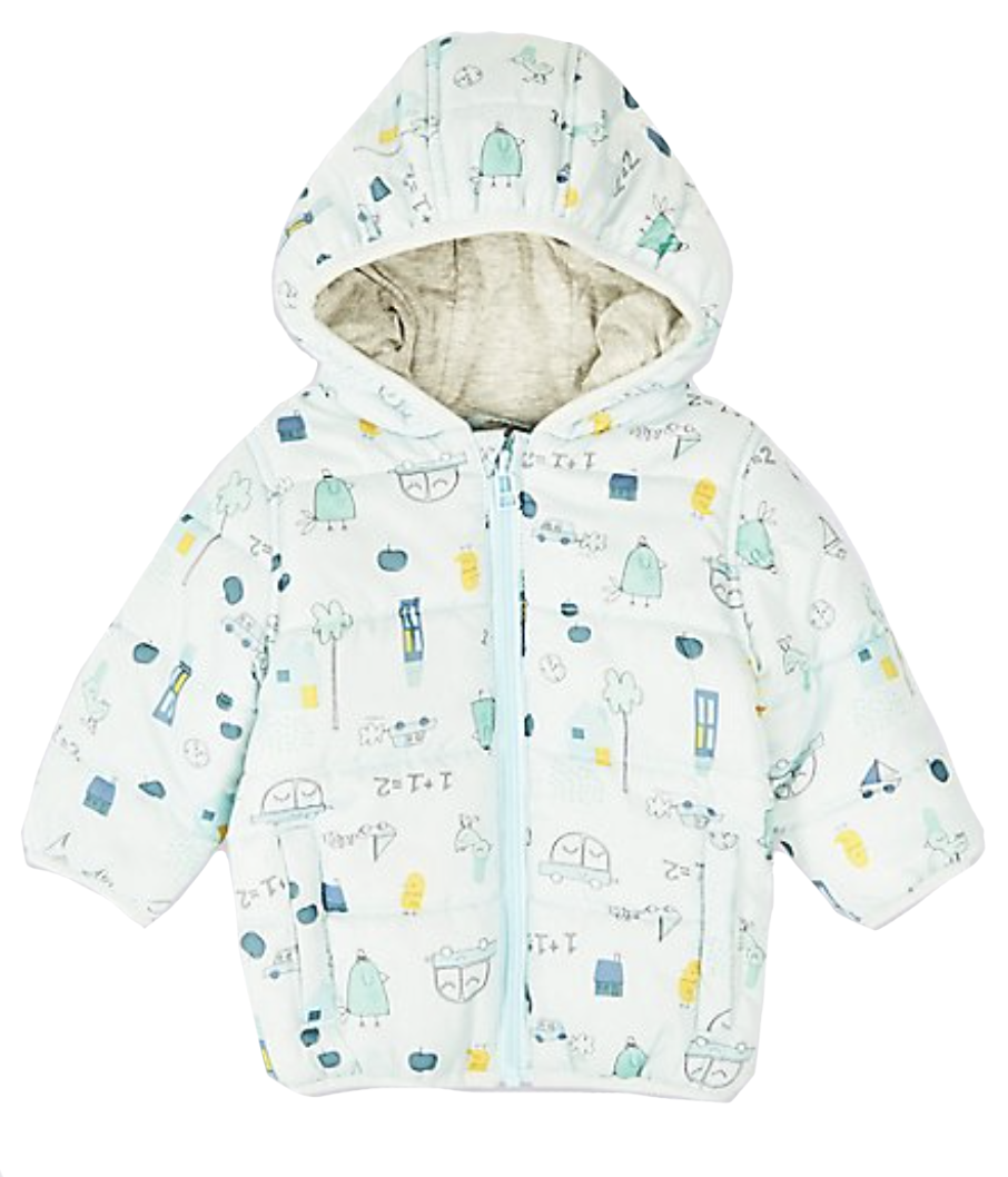 M&S All Over Car & Bird Print Coat