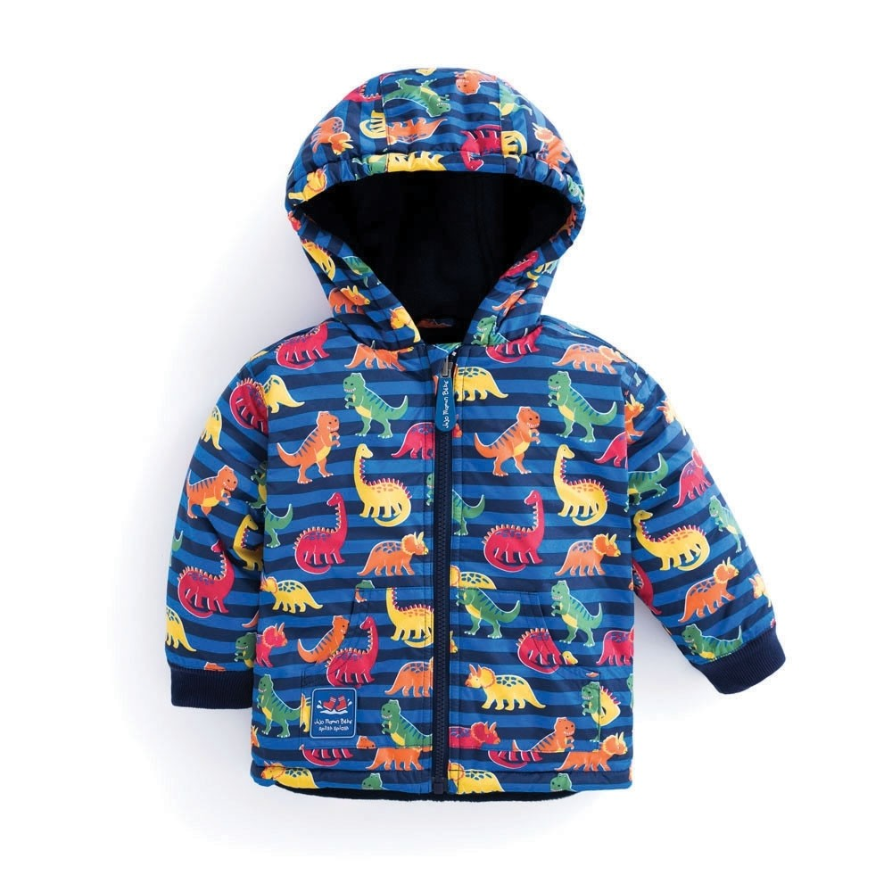 JoJo Dinosaur Reversible Waterproof Fleece Lined Rain Jacket