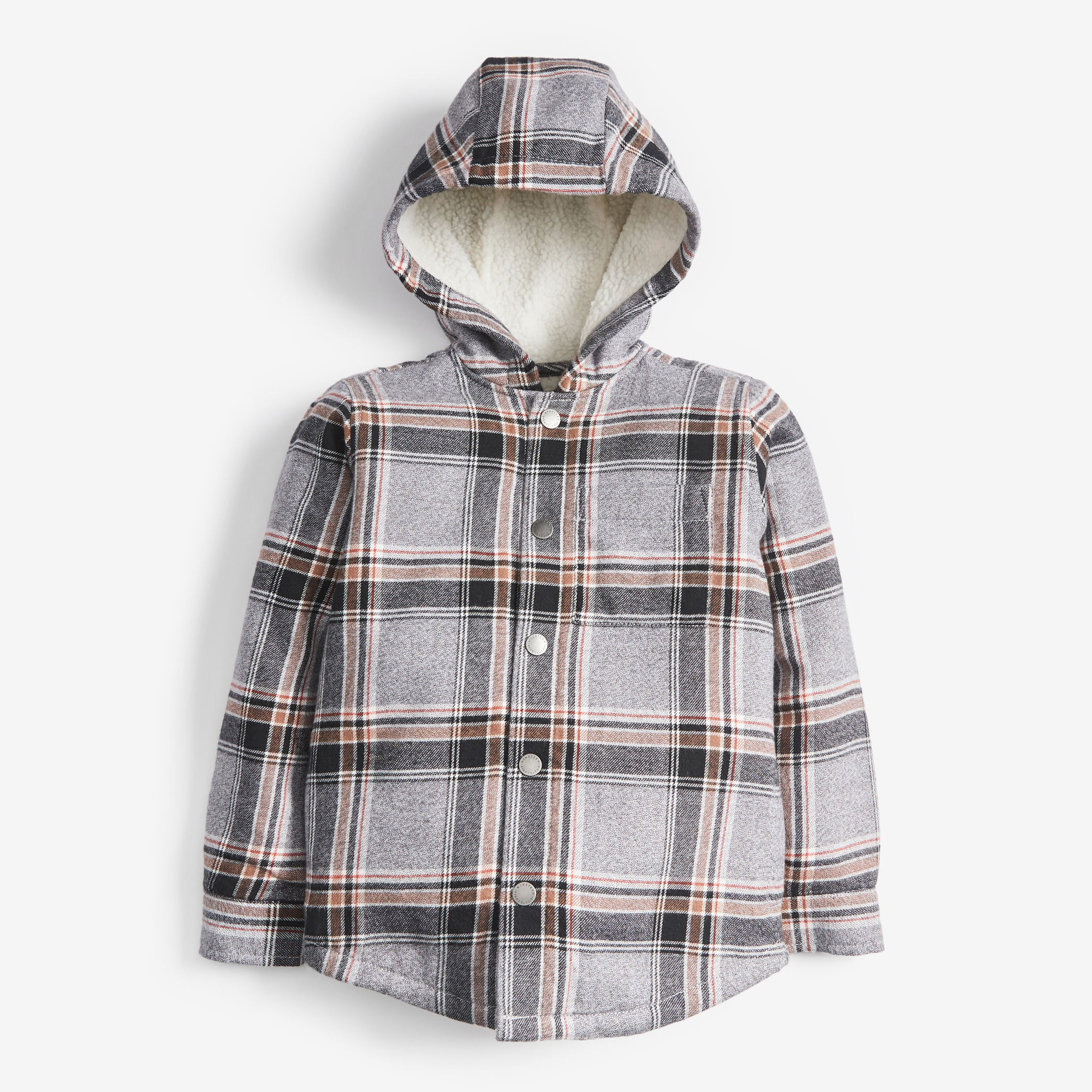 Next Grey Check Cosy Borg Lined Hooded Shacket